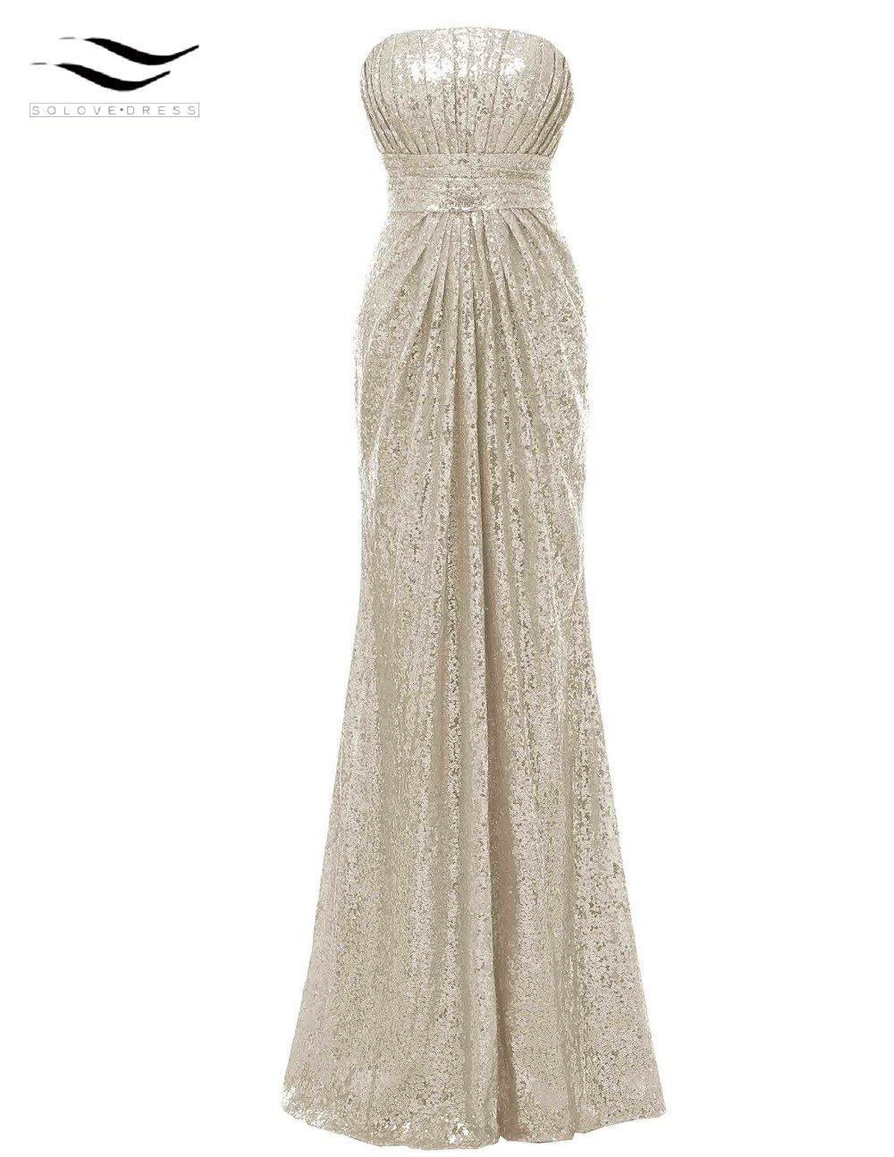 Solovedress Off The Shoulder Mermaid Sequined Elegant Strapless Bridesmaid Dress 2018 Real Formal Vestido De Dama De Honra B0063