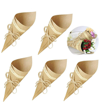 100Pcs/Set Retro Folding Kraft Paper Confetti Cone Bouquet With Ropes Wedding Diy Decoration Gifts Packing Party Supplies