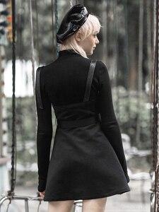 Image 3 - Punk Rave Meisje Gothic Hart Geborduurde Applicaties Jarretel Jurken Met Riem Persoonlijkheid Toevallige Zwarte Jurk