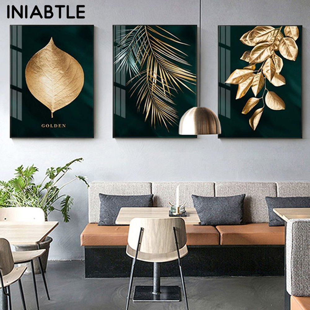 Abstract Golden Plant Leaves Wall Poster Print Modern Style Canvas Painting Art Decoration Pictures For Living Room Home Decor
