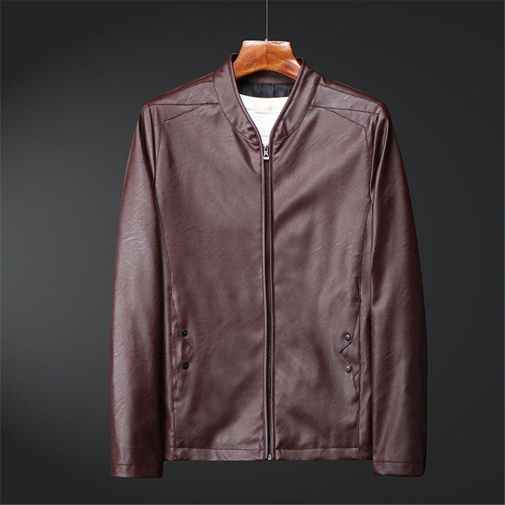 Mens Autumn Winter New Retro Solid Collar Jacket Pure Long Sleeved Coat