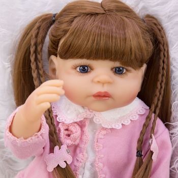 Bebe doll reborn 55cm Full body silicone reborn baby girl dolls DIY new hair style children gift reborn doll toys