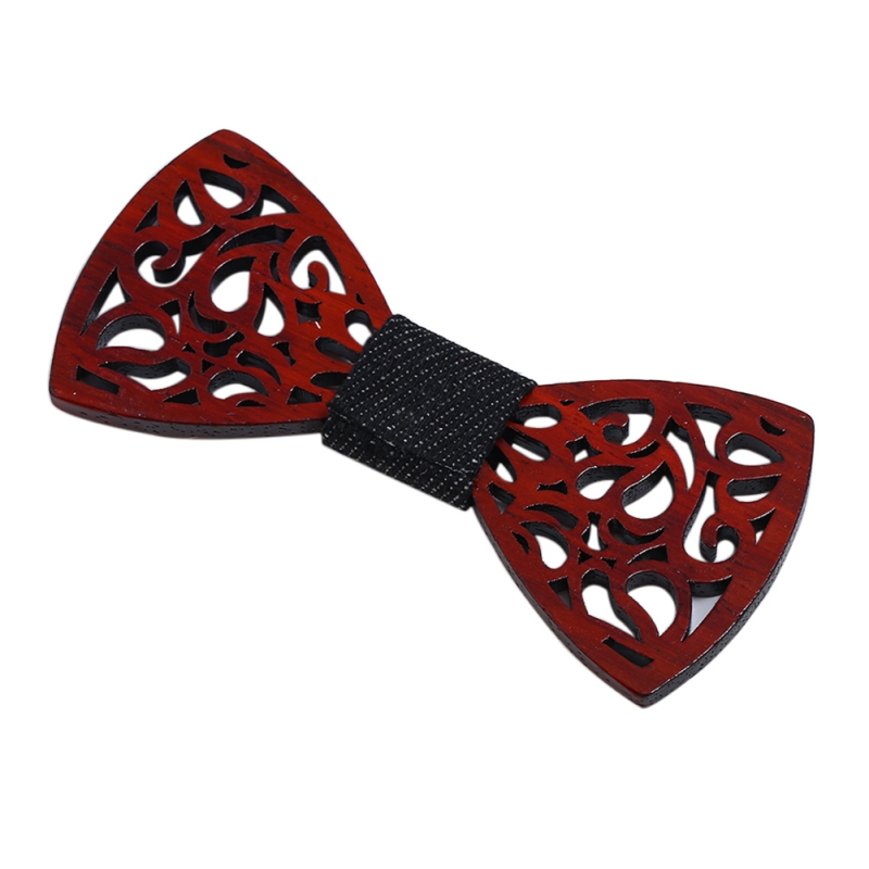 Women Trendy Tie Clips Casual Wood Beard Shape Hollow-out Style Clips Party Bow Tie