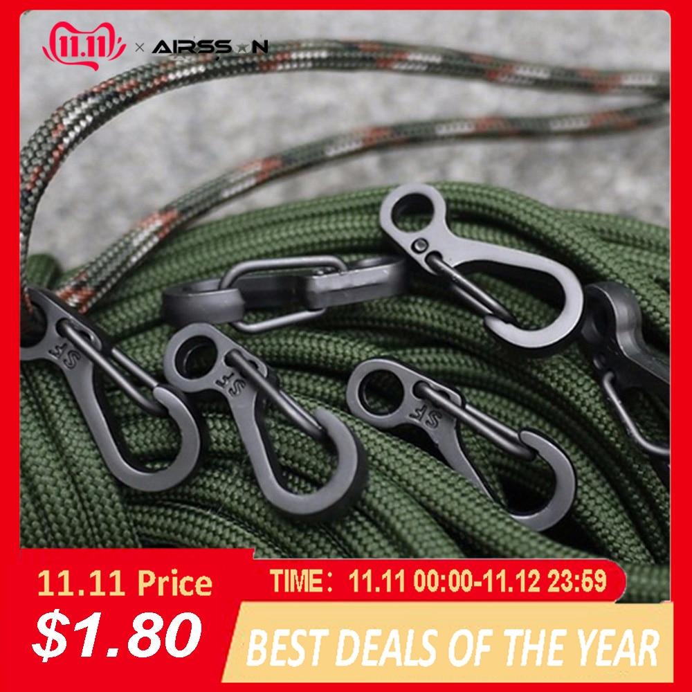 10Pcs/Lot Outdoor Mini Aluminium Alloy Hang Buckle Survival EDC Gear Carabiner Key Chain Clip Quickdraw Key Chain Travel Tools
