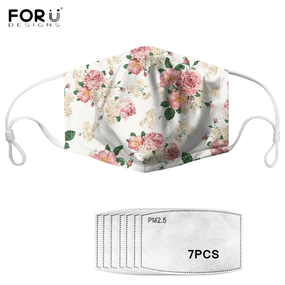 FORUDESIGNS Real Dried Flowers Patterned Masques Mask Multi Use Shield Wind Face Cover Mouth Muffle Anti PM2.5 7 Filters Masks