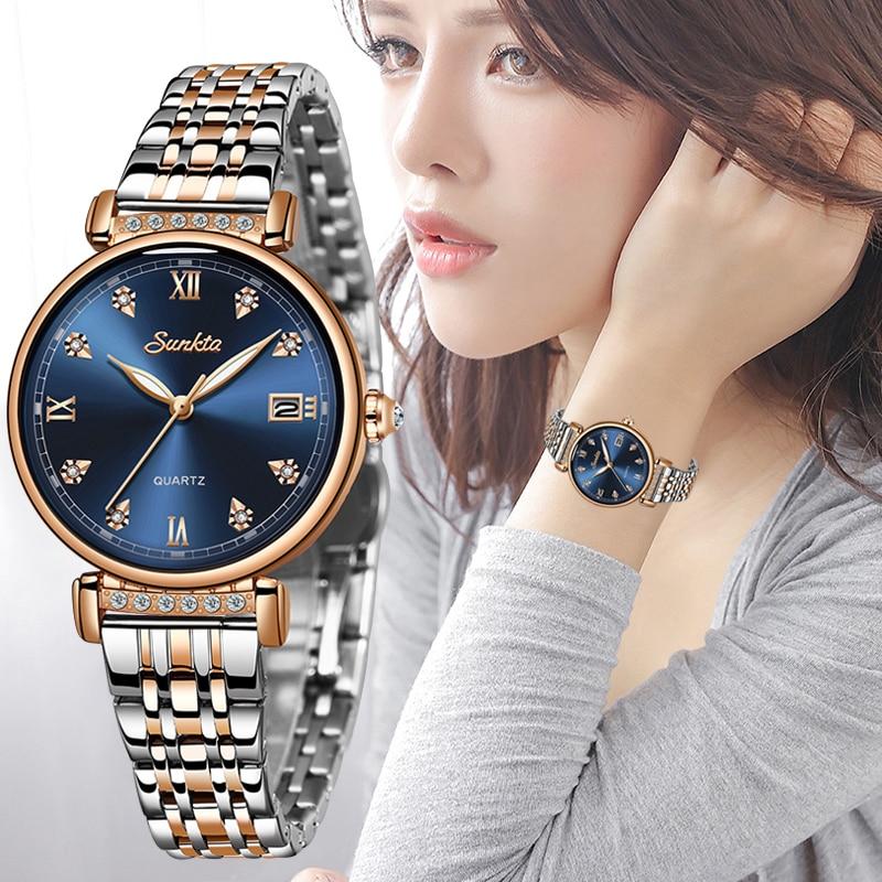 2020 SUNKTA NEW Rose Gold Women Watches Ladies Fashion Simple Quartz Watch Women Top Brand Luxury Female Clock Relogio Feminino