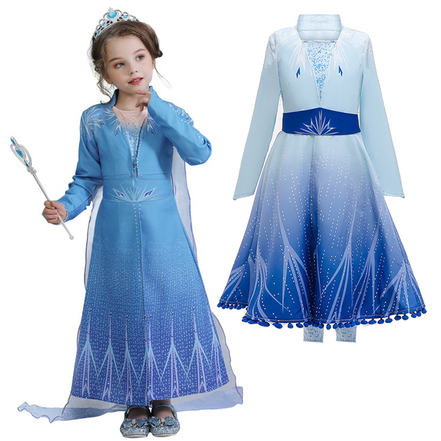 Infant Baby Girls Anna Elsa 2 Princess Costume Vestidos Cosplay Clothes Toddler Party Role-play Kids Fancy Dresses For Girls