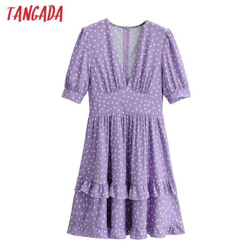 Tangada-vestido con estampado de lunares morados para mujer, Túnica de manga corta con cuello de pico, para verano, 2021, 1F124
