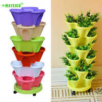 6PC Multi-layer Combination Drain Stereo Flower Pot Family Balcony Vegetable Melon Fruit Planting Pot Saving Space Plastic Basin