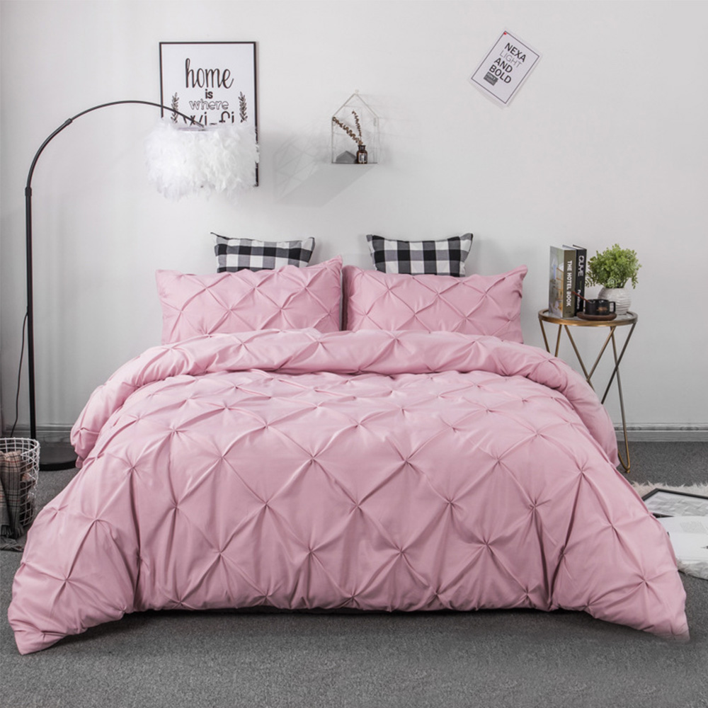 Softest Bedding Kit Pleated Style Home Textile Set Pure Color Pillowcase Quilt Cover With Double Sided Storage Pockets