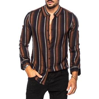 цена на Aoliwen brand 2020Fashion Striped Patchwork Men Shirt Short Sleeve Loose Button Up fashion Personality Casual Brand Shirts Men