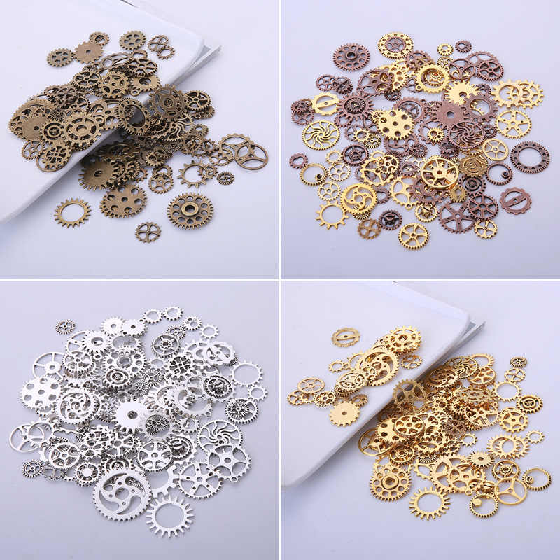 20pcs Random Vintage Steampunk Gears Charms Pendant Bracelet Necklace Fdinings Craft Metal Alloy Wheel Charms Diy Jewelry Making