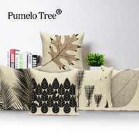Personalizado capa de almofada escandinavo maple folhas preto fronhas casamento 17.7 Polegada linho impresso casa sofá decoração almofada