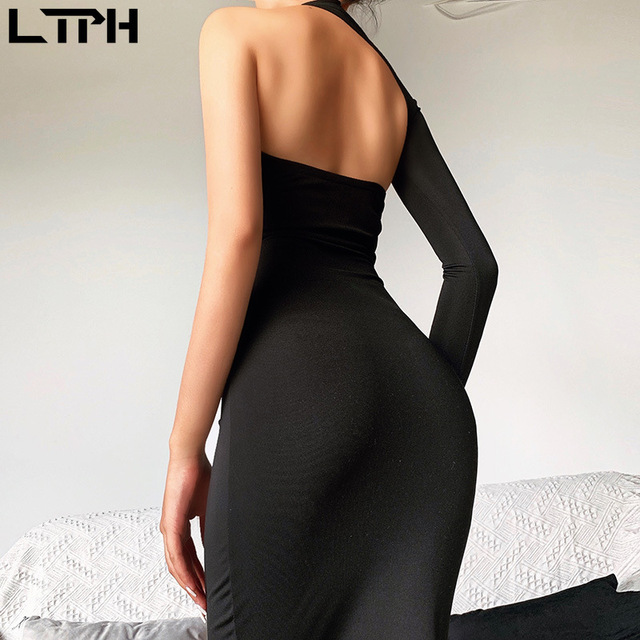 Hot sale New 2020 spring One shoulder women dress ins Star same style sexy slim solid Hollow out Open Back bag hips long dresses 6