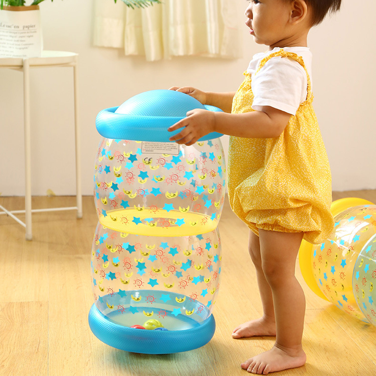Funny Inflatable Crawling Standing Exercise Early Training Roller With Bell Ball For 6-36 Month Newborn Toddlers Growth Cylinder