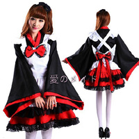 Japan Witch Cosplay Lolita Dress Cute Halloween Party For Women Girls Double Layers Dress Kimono French Sleeve Black Red