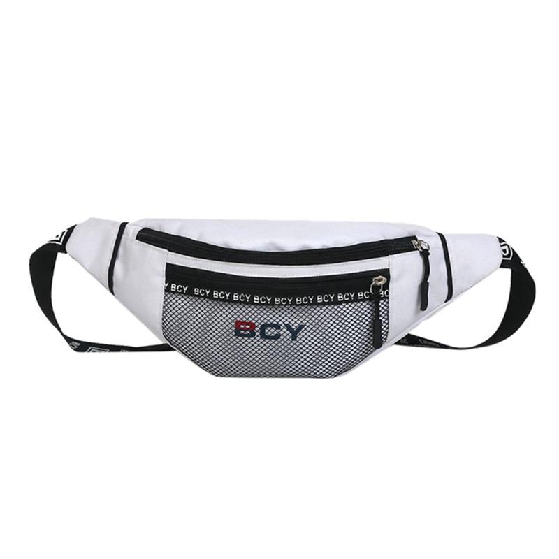 Fashion Neutral Outdoor Zipper Canvas Messenger Bag Sport Chest Bag Waist Bag White