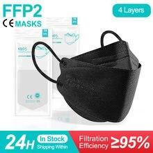Preto kn95 máscara facial adulto ffp2 mascarillas negra 4 camadas de proteção fpp2 máscaras ffp2 máscara boca reutilizável máscara ffp2mask