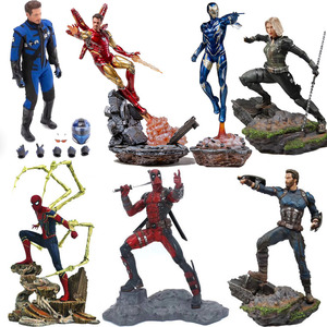 Avengers Captain America figure Marvel ironman spiderman Deadpool Danvers Statue Iron Studios PVC Action Figures toy figure(China)