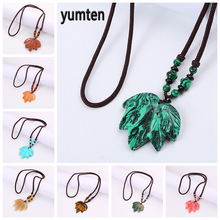 Yumten Turquoise Pendant Necklace Maple Leaf Sweater Chain Accessories Women Fashion Jewelry Natural Stone Power Gemstone Gift
