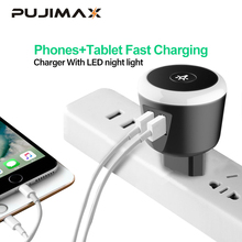PUJIMAX 5V2.4A Smart travel charger with LED night Light dual usb Charging For iPhone Samsung  Xiaomi Travel Universal Charger