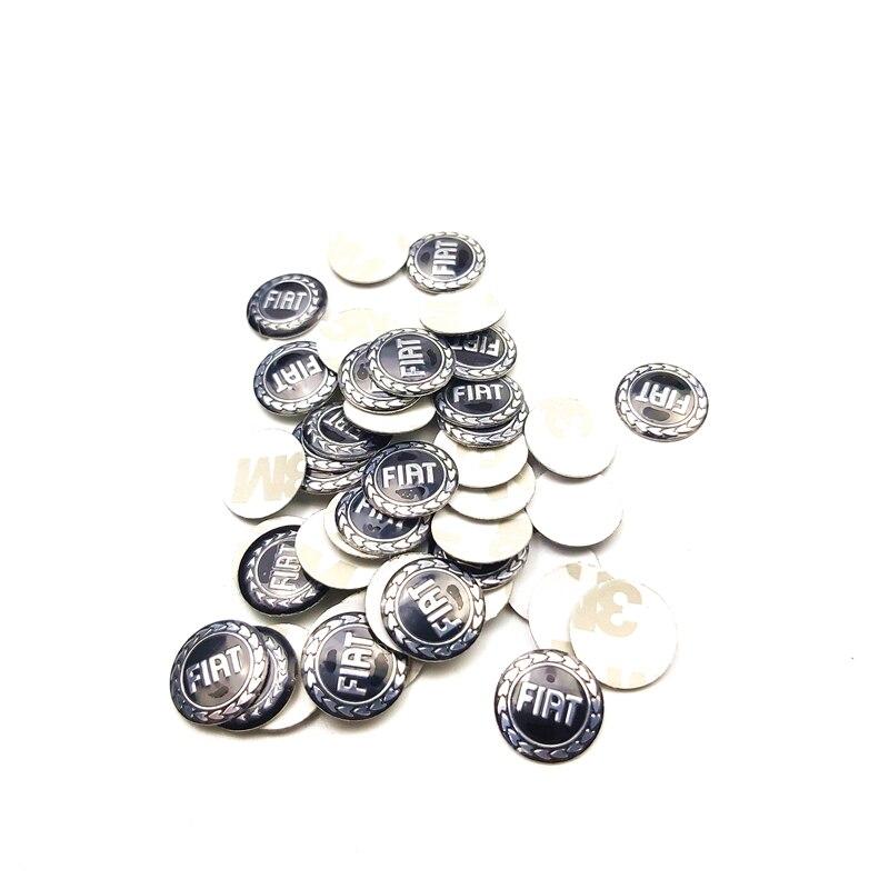 14mm Diameter Car Key Logo Sticker Case For Fiat Panda Bravo Punto Linea Croma 500 595 Car-Styling Badge Accessories 1pcs