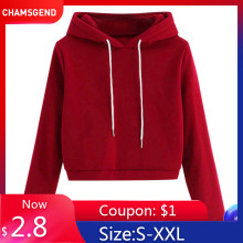 CHAMSGEND Red Sweatshirts Women hoodies long sleeve harajuku Fashion Autumn Pullover Hooded korean style Brief SportWear F722(China)