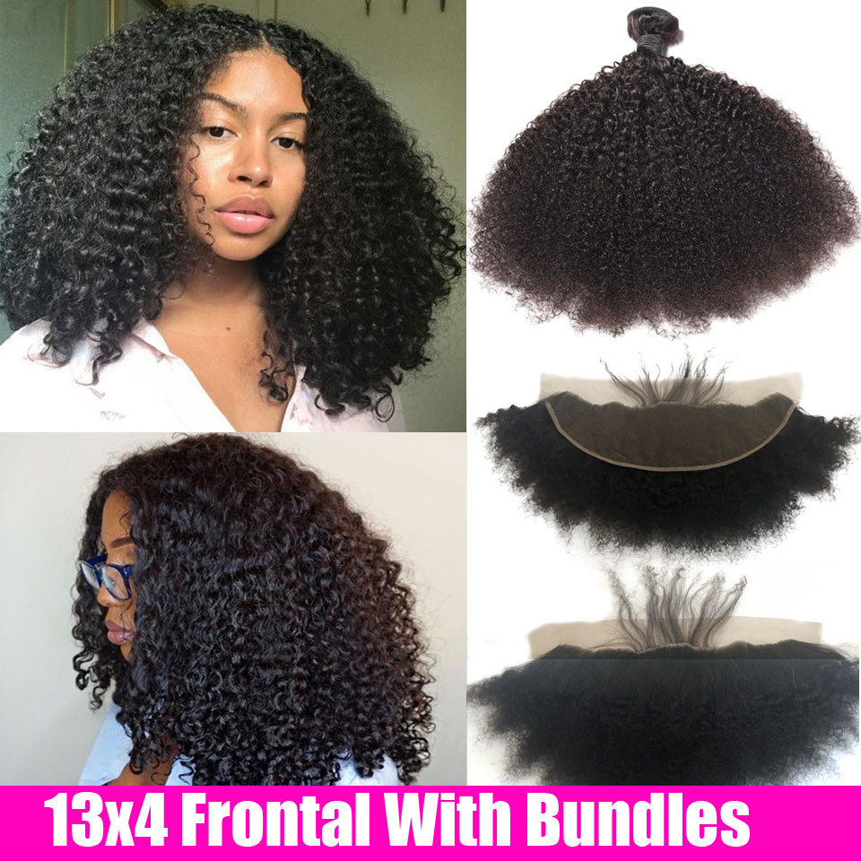 Mongolian Afro Kinky Curly Hair With Ear To Ear Lace Frontal Closure Pre Plucked Remy Human Hair Weave 3 4 Bundles With Frontal