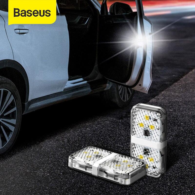 Baseus 2Pcs 6 LEDs spia di apertura auto spia di sicurezza Flash anticollisione lampada di segnalazione di allarme magnetico Wireless