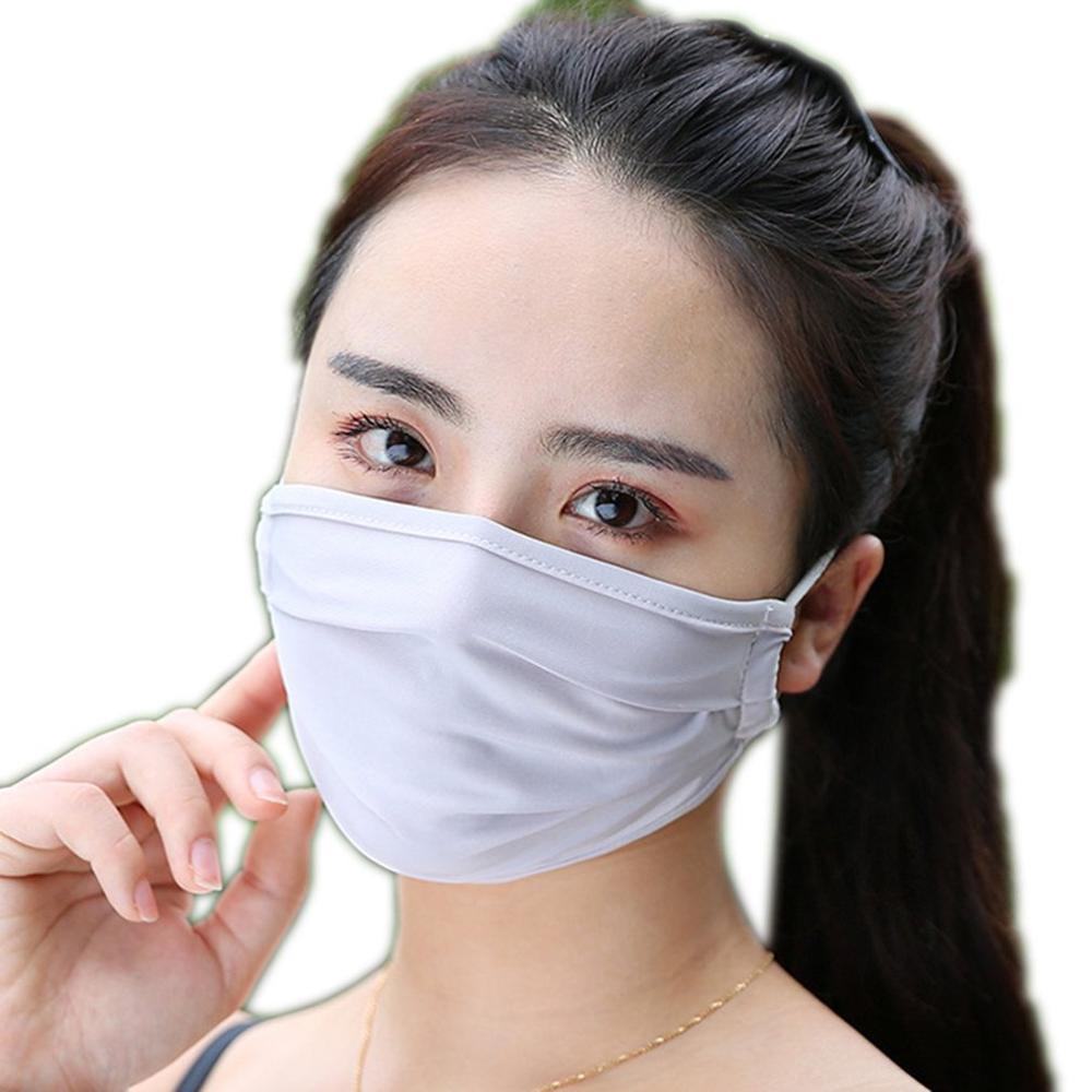 Summer Ice Silk Mask Female Independent Installation Spiral Buckle Sunscreen Dustproof Anti-Haze Ice Silk Mask