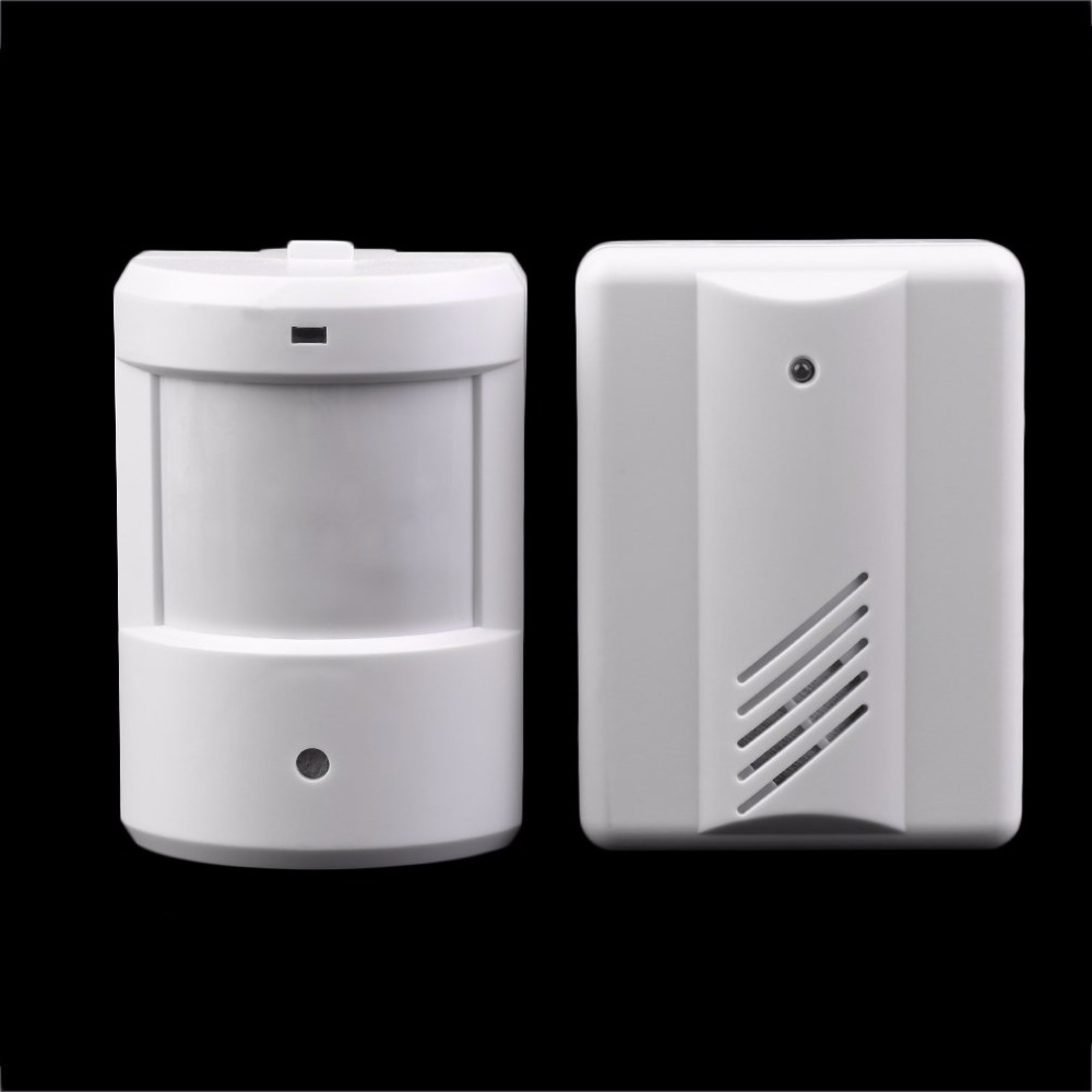 Wireless IR Remote Security Doorbell Alarm System Wireless Detector Alarm Driveway Patrol Garage Infrared  Motion Sensor White