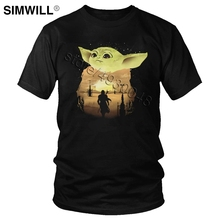 Fashion Lovely Baby Yoda Mandalorian T Shirt Men Pure Cotton