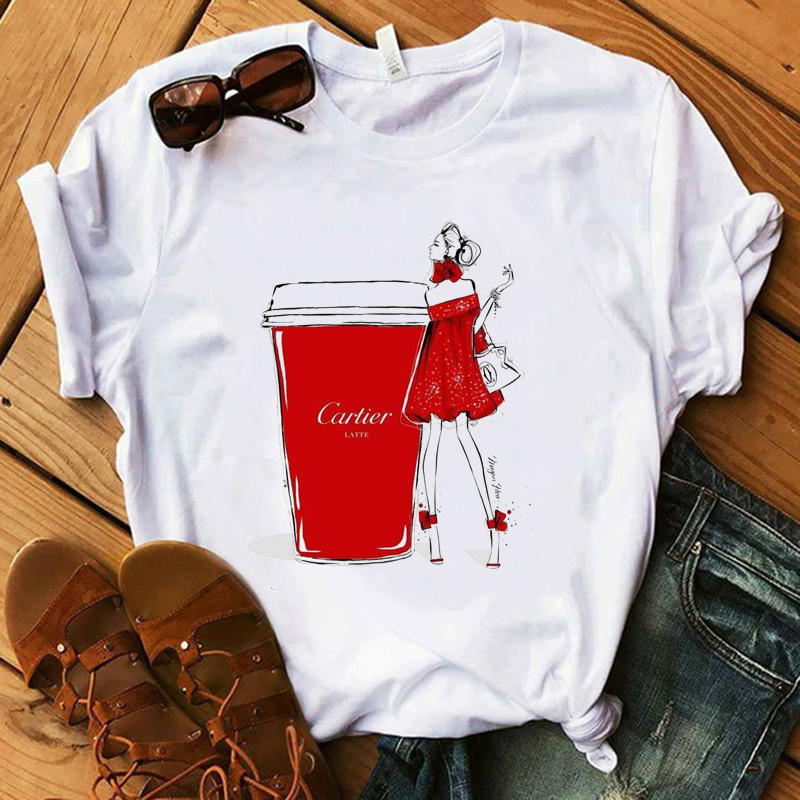 Fashion T Shirt Lady Luxury Make Up Collection Coffee T-Shirt Women  Summer Casual Tops Girl Hipster T-shirts
