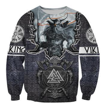 Fashion Men for women Viking hoodies 3D printed Tattoo Odin Sweatshirt Hoodie Harajuku Autumn Streetwear Unisex Casual Tracksuit 2