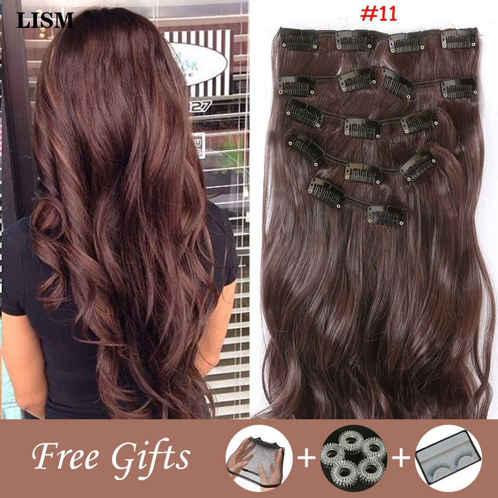 Blonde Hair Clip In <font><b>Wig</b></font> Extensions Peruca Cosplay Peluca Mujer Pelo Natural Perruque Manga Glueless Full <font><b>Lace</b></font> Dark Brown <font><b>Wigs</b></font> image