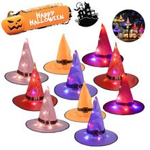 5pcs Luminous Witch Hat For Adults Halloween Costume Party Accessories Cosplay Decoration