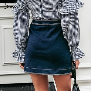 Image 4 - Simplee Patchwork A line button women jeans skirt High waist pocket female mini skirts Casual streetwear ladies short skirt 2019