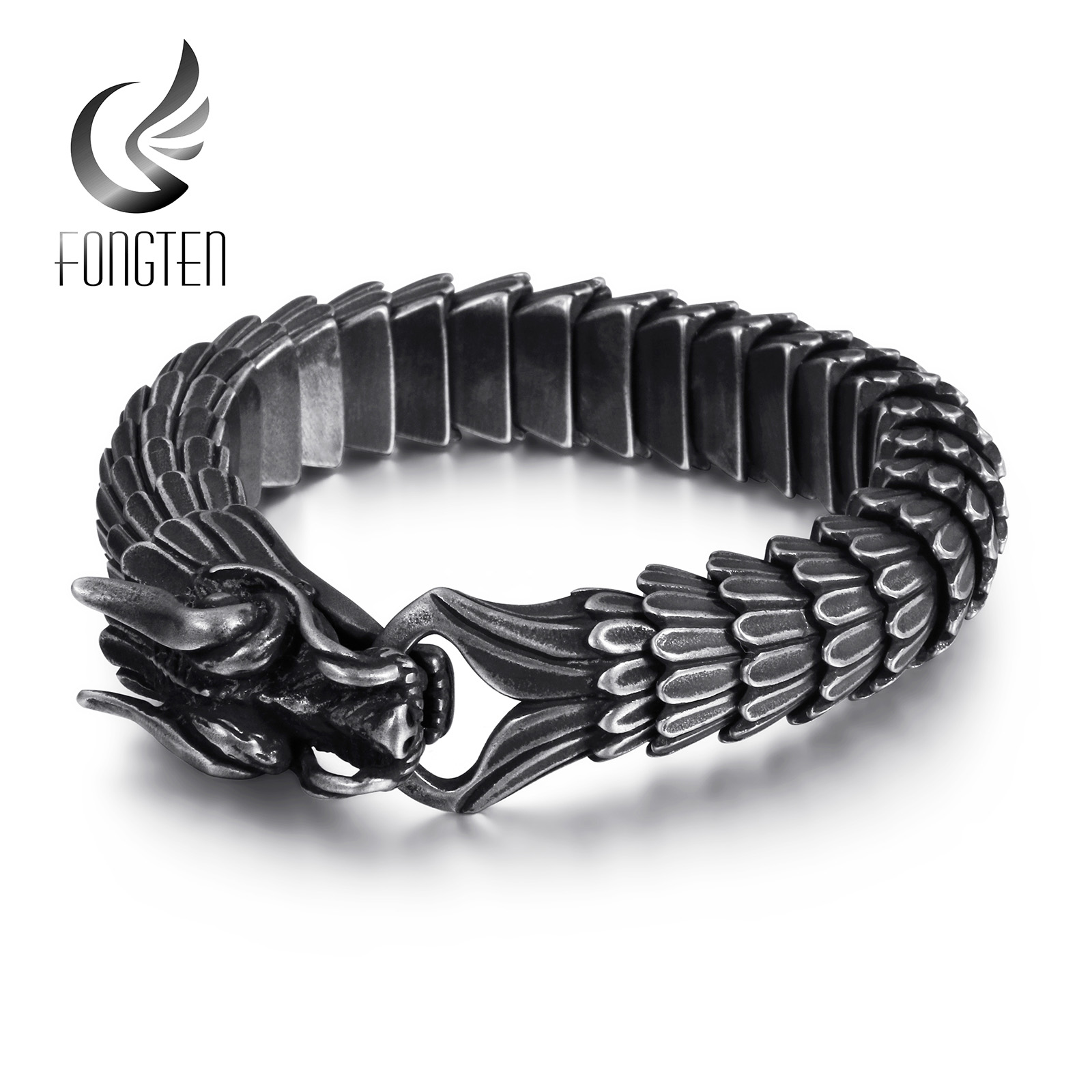 Fongten Dragon Link Chain Bracelet Men Biker Viking Stainless Steel Punk Mens Old Metal Vintage Bangles Jewelry Gift 2020
