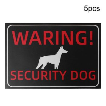 цена на 5pcs 30x20cm Adhesive Beware of Dog Sign for Fence Gates Stickers Warning Signs