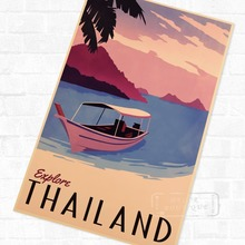 Paisaje Tropical de Phuket Tailandia Vintage Retro de Kraft afiche decorativo DIY pared lona adhesivo póster para Bar Decorati