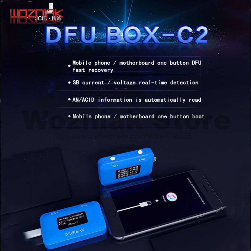 JC DFU BOX C2 Restoring Rebooting IOS Restore Reboot Instantly SN ECID MODEL Information Reading USB Current Voltage Display