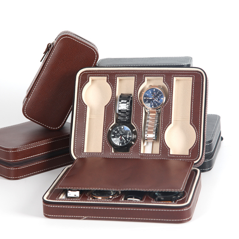 Watch Box Watch Zipper Bag Storgage Bag Watch Box Leather Bag Portable Zipper Watch
