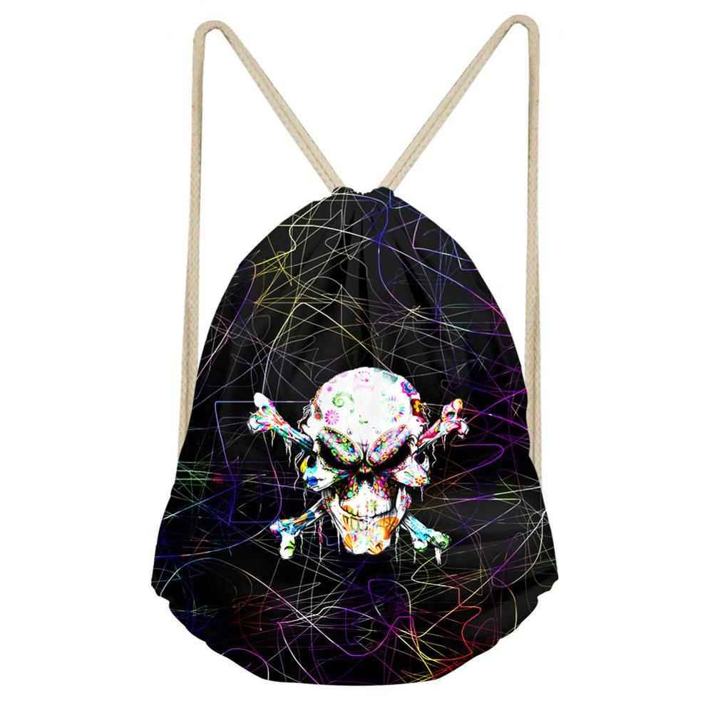Cool Skull 3d Print Drawstring Bag Teenager Boys Girls Storage Bag Women Men Travel Gift Bag  Fashion Gym Backpack Bookbag