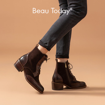 BeauToday Ankle Brogue Boots Women Cow Suede Leather Zip Lace-Up Autumn Winter Mid Heel Ladies Shoes Handmade 06205 beautoday chelsea boots women cow suede pointed toe chunky heel elastic ladies ankle boots handmade a03324