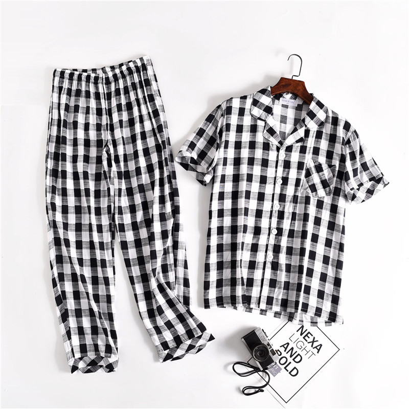 Summer Cool Comfortable Short Sleeve Trousers Mens Nightgown Viscose Plaid Pajamas Luxury Men Clothing Sleepwear Two Piece