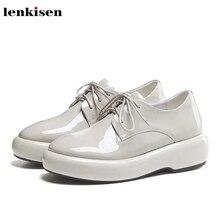 Lenkisen hot catwalk en cuir véritable bout rond fond épais à lacets solide de base beauté dame de mode femmes chaussures vulcanisées L10
