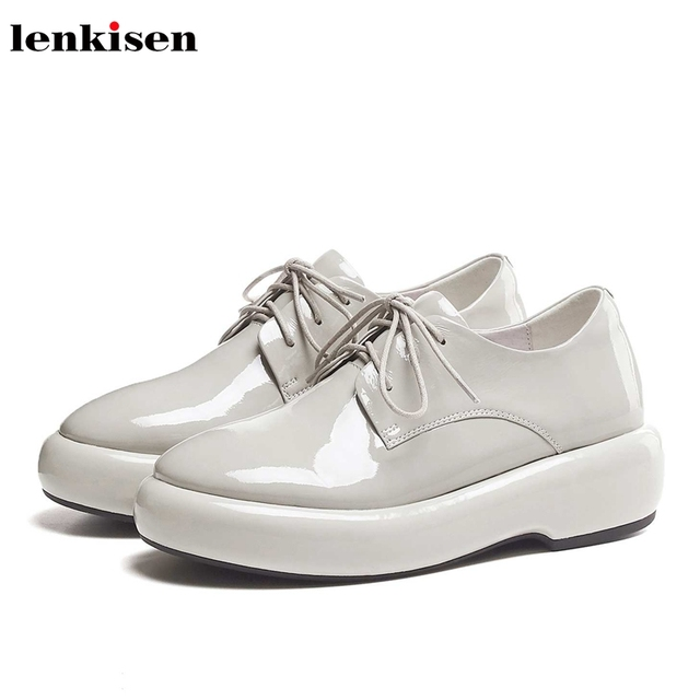 Lenkisen hot catwalk genuine leather round toe thick bottom lace up solid basic beauty lady fashion women vulcanized shoes L10