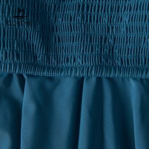 Image 5 - Cupshe smockedブルー葉印刷ビキニセット女性フリルハイウエストタンキニ二枚水着2020ガール自由奔放に生きる水着スーツ
