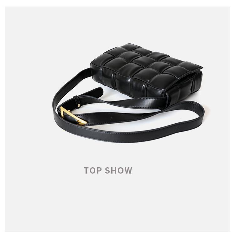 Moda brilhante preto genuíno couro quadrado treliça