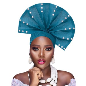 Image 5 - Free shippoing Stoned aso oke headtie headwrap turban africain gele headtie already made